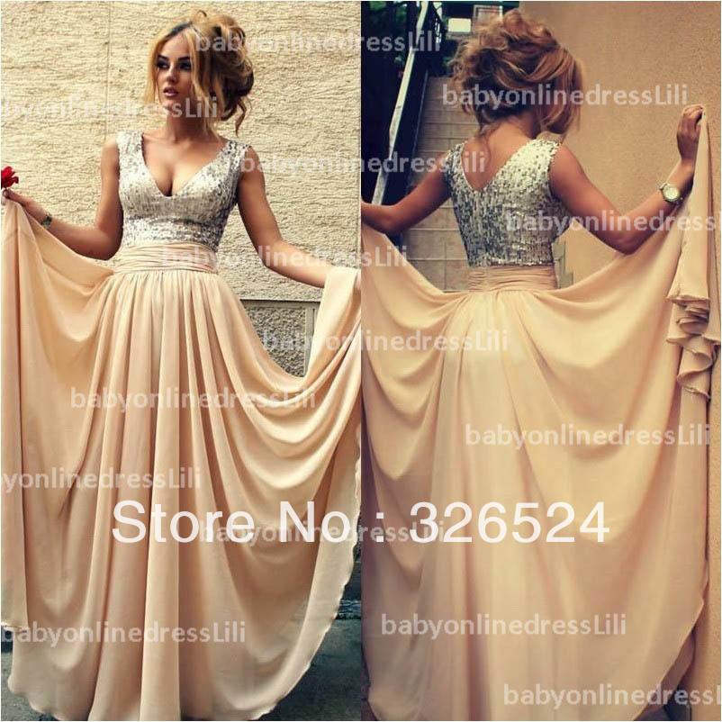 Aliexpress.com : Buy New arrivals long sequin dress v neck open ...