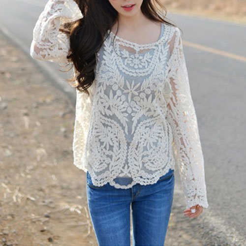 Sexy Sheer Crochet Lace Shirt Blouse Pullover Top [grxjy560995] on Luulla