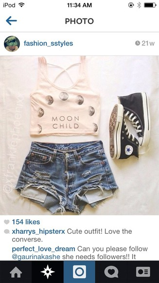converse t-shirt tank top shorts high waisted denim shorts jeans ripped jeans ripped shorts love, shirt, angle, b.e.a.u.t.i.f.u.l! moon child all stars crop tops moon, wow, perfect,