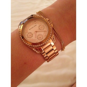 jewels watch gold gold rose designer michael kors
