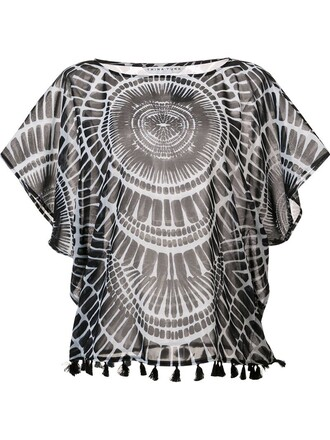 blouse printed blouse sheer black top
