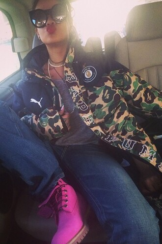 rihanna sunglasses camo jacket jacket jeans shoes