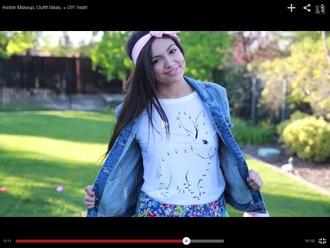 blouse bunny headbands denim jacket shorts