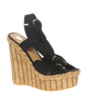 """Chaussures ã semelles compensã©es en tissu avec bride arriã¨re et nå""""ud sur le dessus chez asos"""