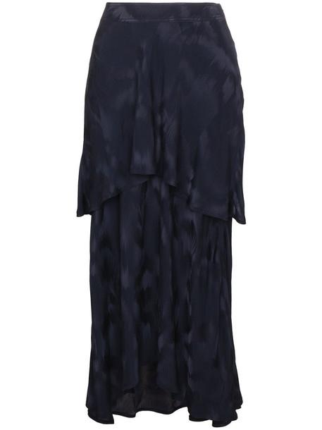 skirt paris women jacquard layered blue silk