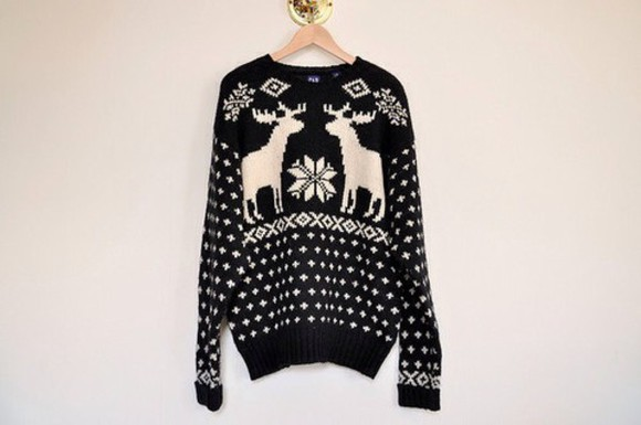 black and white winter sweater