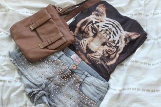shirt shorts jeans tiger shirt denim shorts