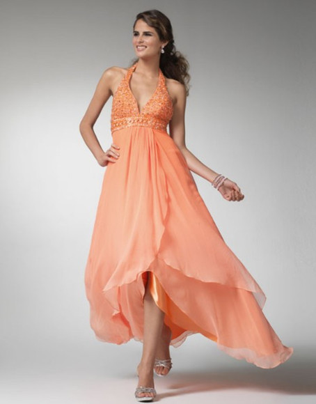 chiffon a-line halter orange high-low beading backless