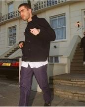 coat,liam gallagher,britpop,british,nehru jacket,black,oasis,90s style,wool coat,90s jacket,double breasted