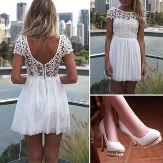 dress white dress lace dress short dress