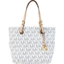 White / Navy Michael Kors Logo Print Signature Tote - Handbags & Accessories