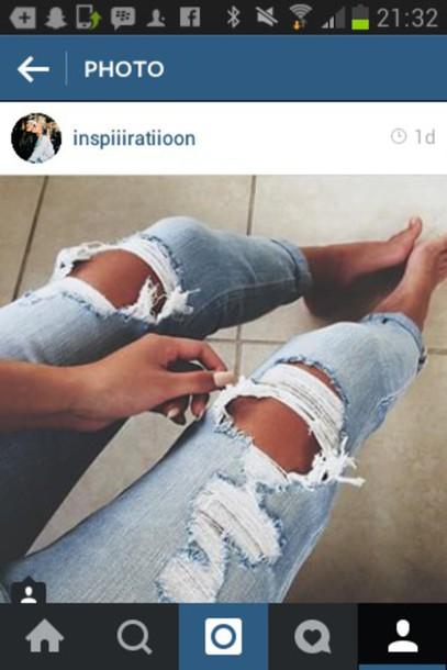 jeans ripped jeans light blue jeans boyfriend jeans light blue denim