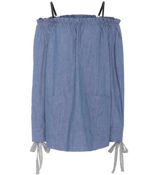 Miu Miu Denim off-the-shoulder dress in blue
