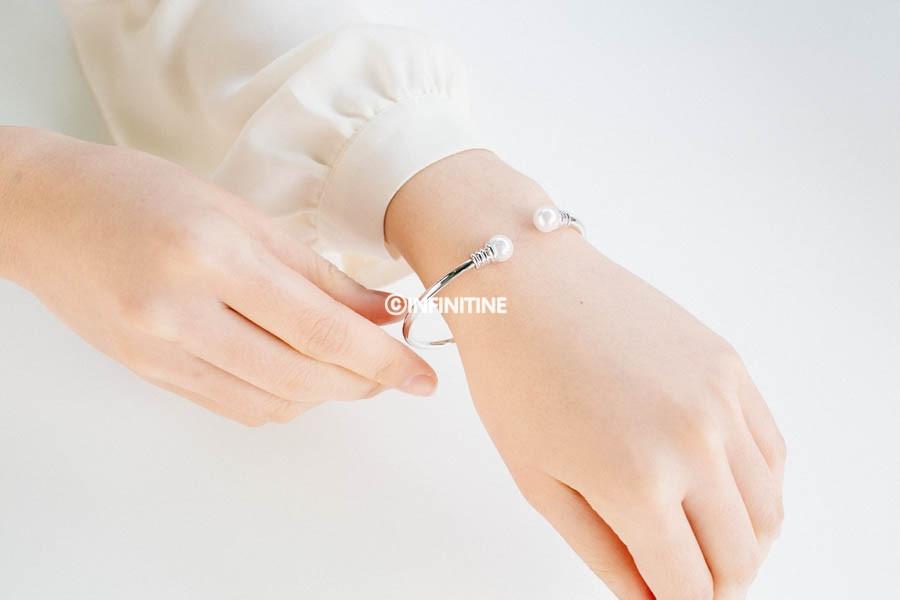 Pearl bulb bangle bracelet,, BR2305