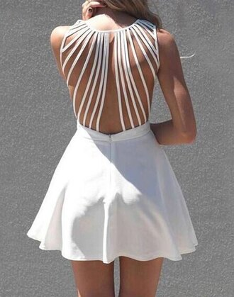 dress backless top bottoms skirt clothes sweetheart bandage dress string white dress cute dress sexy dress summer dress beautiful fashion girly outfit sammydress spaghetti strap