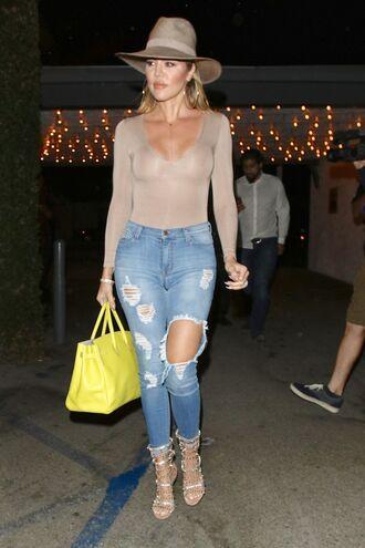 bag jeans ripped jeans heels sandal heels hat long sleeves khloe kardashian bodysuit shirt shoes