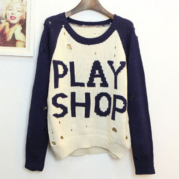 sweater loose contrast color