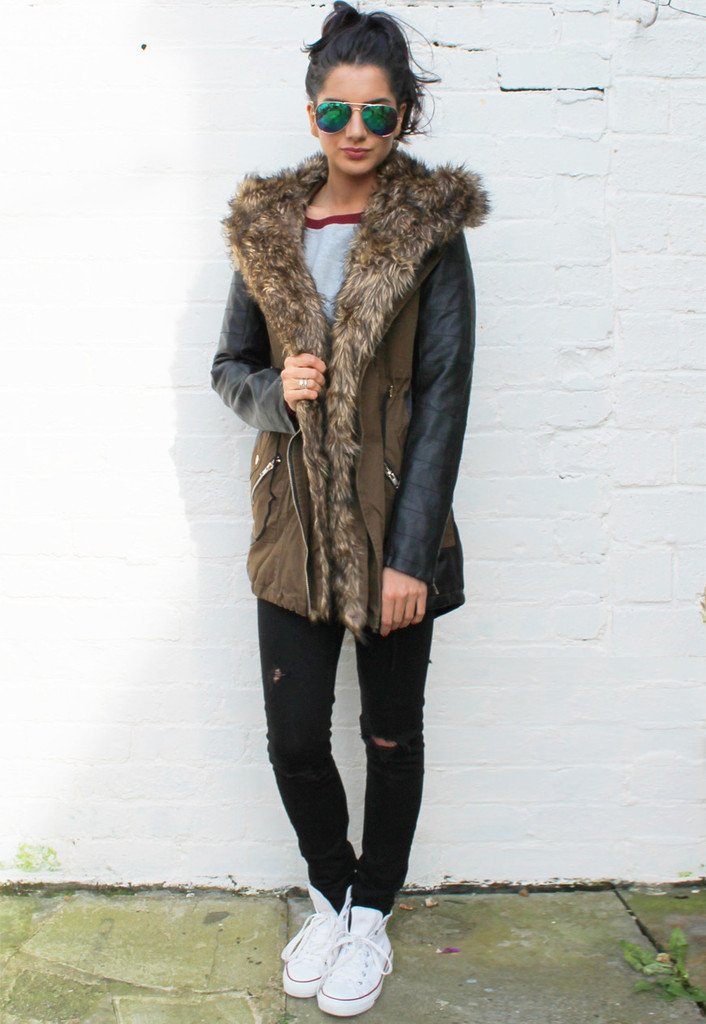 Faux Leather Sleeve & Panel Parka with Fur Hood in Khaki Green