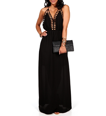 Pre-Order: Black Deep Back Cage Maxi Dress