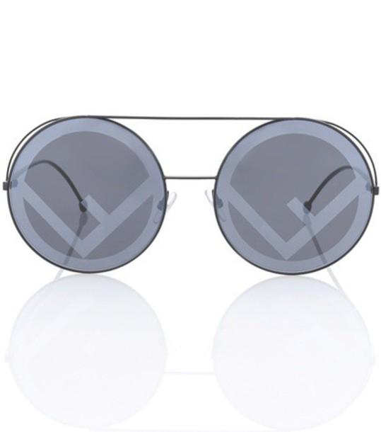 Fendi oversized run sunglasses round sunglasses black