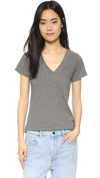 short v neck grey top