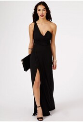 dress,black,maxi,prom,evening outfits,maxi dress,missguided
