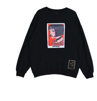 sweater blac crewneck print tumblr printed sweater
