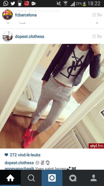 shirt white top white t-shirt jacket sweatpants joggers saint laurent yves saint laurent