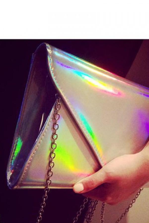bag holographic clutch hologram clutch