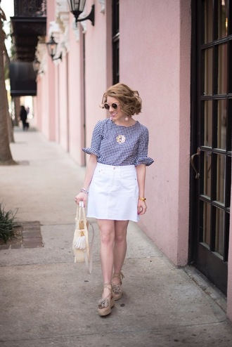 something delightful blogger top skirt bag jewels shoes