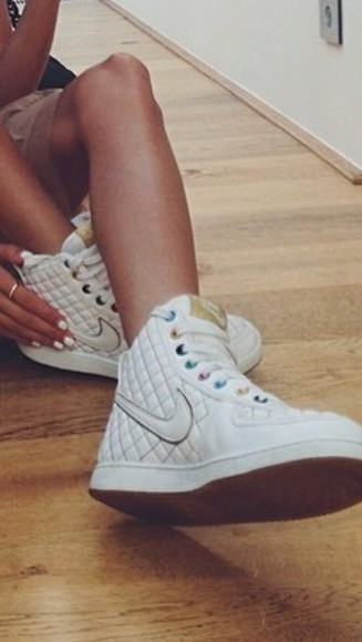shoes high top sneaker nike sneakers white nike air nike girl jordans swag nike air force 1 nike free run chanel white nikes gold gold nike check tumblr tumblr shoes