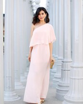 dress,tumblr,maxi dress,pink dress,light pink,greek goddess,one shoulder,long dress,evening dress,formal event outfit,earrings,accessories,Accessory