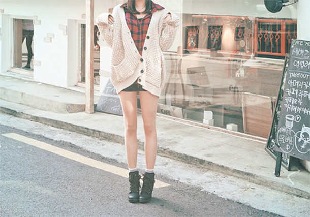 cardigan oversized sweater korean fashion oversized ulzzang asian cream red and black black shoes black boots shorts hipster flannel shirt hat shoes