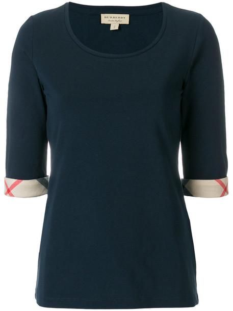 Burberry top women spandex cotton blue