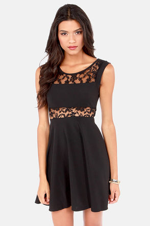 Cute Lace Dress - Little Black Dress - Cutout Dress - $39.00