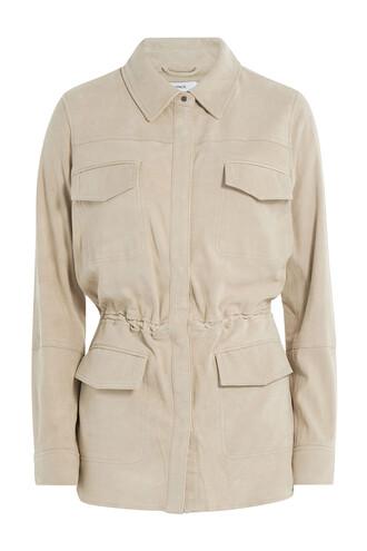 jacket leather jacket drawstring leather beige