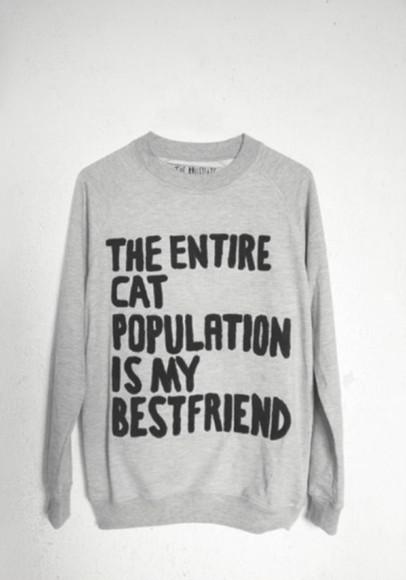 quote on it sweater grey black cats bestfriend\ bestfriend funny funny sweaters