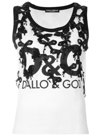 tank top top bow women plastic embellished white cotton