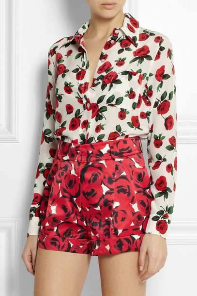 shorts rose-print silk and cotton-blend playsuit rose roses silk cotton romper moschino
