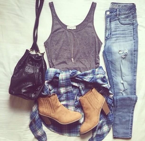 tank top jeans blouse shoes bag jacket ripped jeans ripped blue girly hipster nice sweet love style country summer winter outfits fall outfits spring seasonal cute jewels shirt