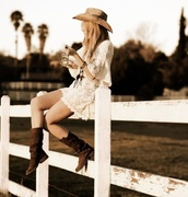 dress,hat,country,country style,country dress,lace country girl outfit,western boots,boots