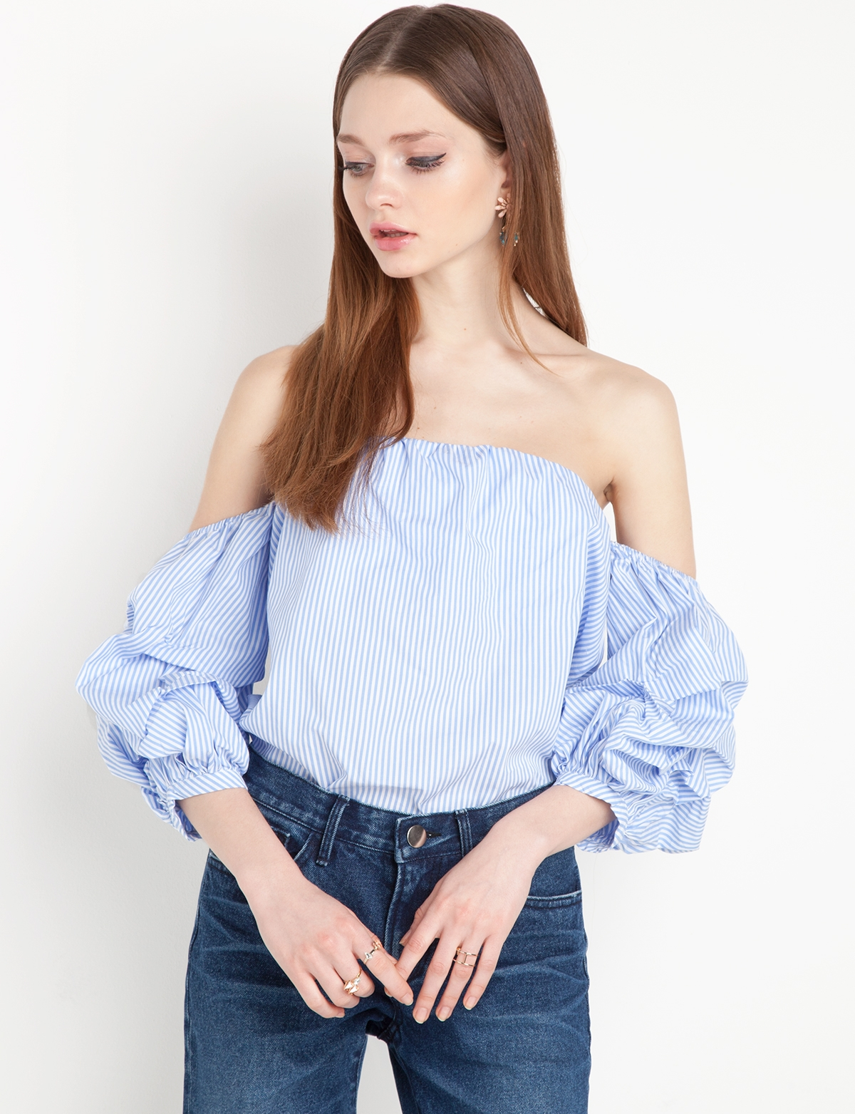 d318118db26 Ruched Balloon Sleeve Off the Shoulder Stripe Top