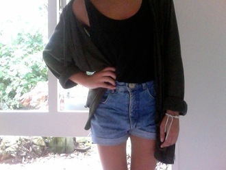 jacket black tank top cardigan high-wasted denim shorts concert girl outfit idea hipster grunge