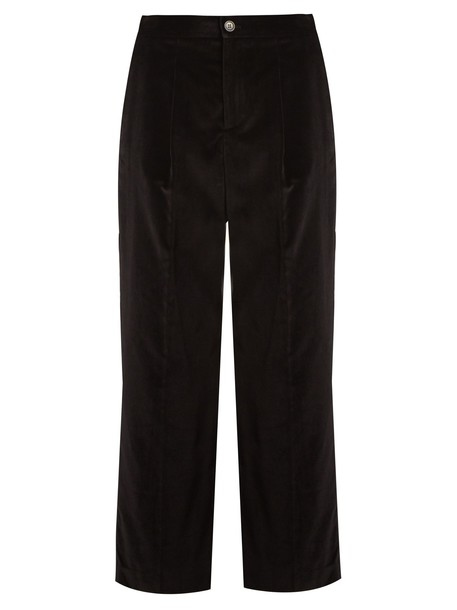 A.P.C. cropped cotton velvet black pants