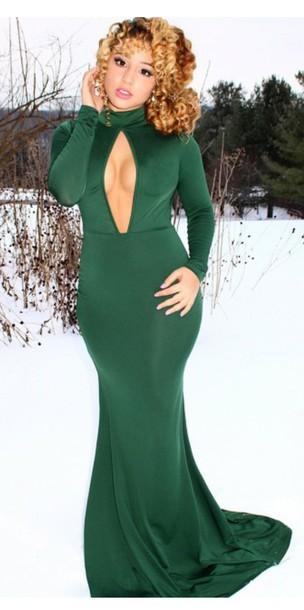 dress green dress keyhole dress long dress emerald green dress long sleeve bodycon dress