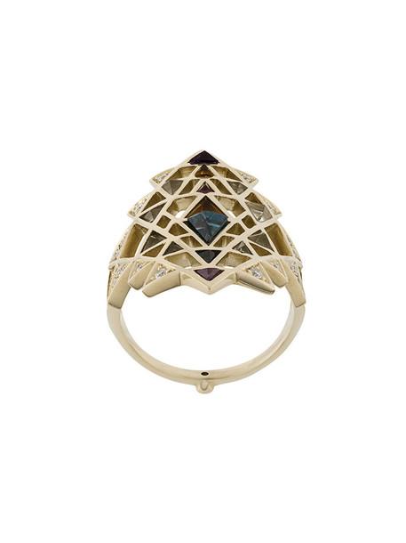 Noor Fares women ring gold white grey metallic jewels