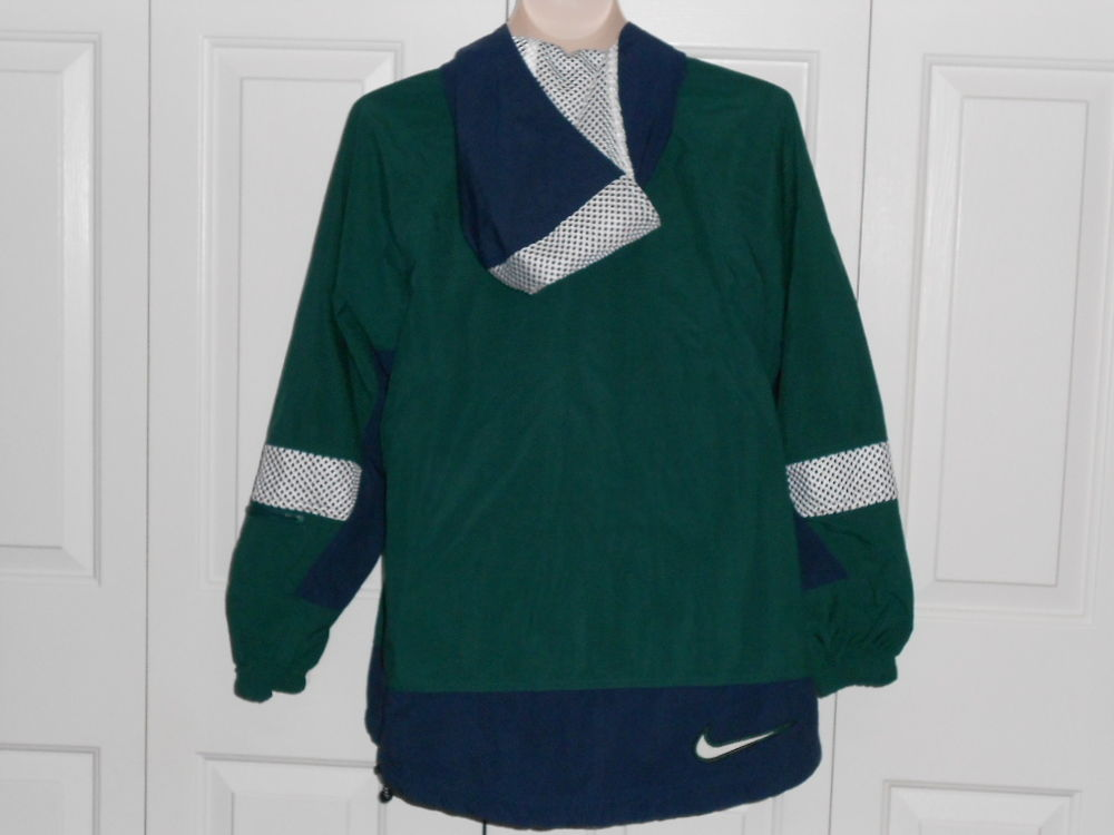 Blue Green Lined Hoodie Windbreaker Jacket Women Medium Excellent