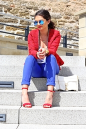 fashionhippieloves,jacket,shirt,jeans,shoes,bag,sunglasses,jewels,red sandals,red high heel sandals,Red suede sandals