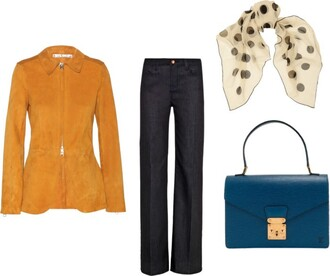 the fashion eaters blogger jacket scarf polka dots purse wide-leg pants jeans bag silk scarf