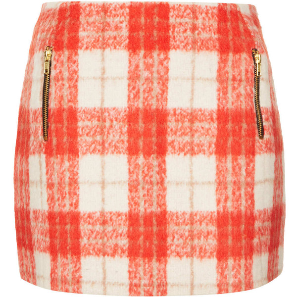 TOPSHOP Orange Wool Check Skirt - Polyvore